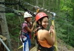 children on zip line tour in west virginia oak hill